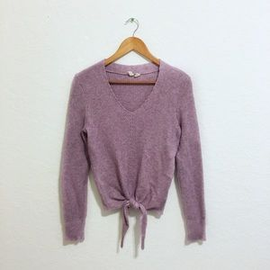 Moth Anthropologie • Front Tie V Neck Sweater